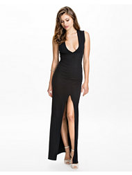 John Zack Deep V Split Maxi Dress