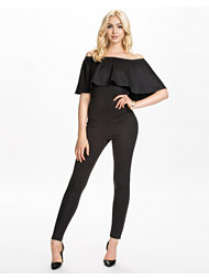 John Zack Off Shoulder Frill Jumpsuit
