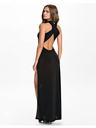 John Zack Plain Cross Back Split Maxi Dress