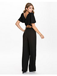 John Zack 3/4 Sleeve Cross Back Wide Leg Jumpsuit