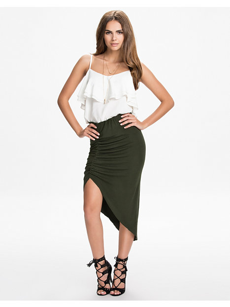 draped high low skirt nly trend forest green