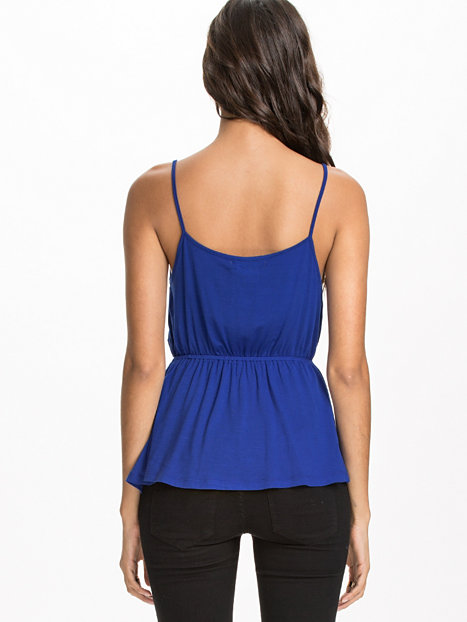 Wrap Peplum Top Nly Trend Blue Tops Clothing