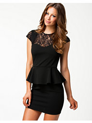 Pearl Lace Cap Peplum Dress