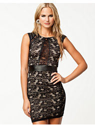 Pearl PU Detail Lace Dress