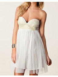Reverse Pearl Bandeau Tulle Dress