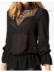 The Style Lace Neckline L/S Blouse