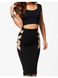 Quontum Gold Strip Midi 2 Piece Dress