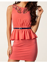 Little Mistress Sequins Peplum Belt Dress