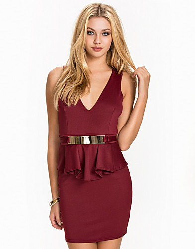 Belted Peplum Dress (2044022001)