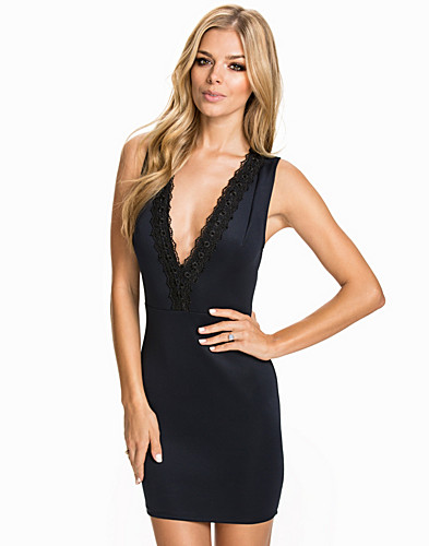 Lace Trim Plunge Neck Dress (2055347745)