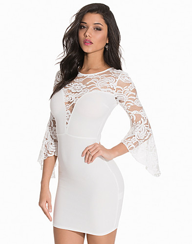 Lace Contrast Flare Sleeves Dress (2138893607)