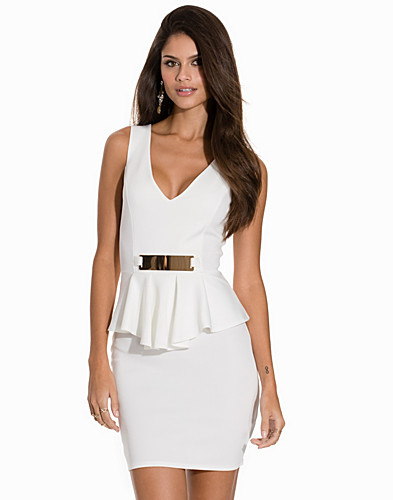 V Neck Gold Peplum Dress (2149787145)