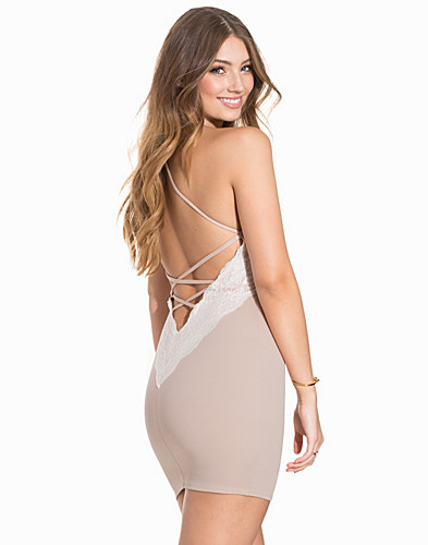 Lace Trim Open Back Dress (2195480863)