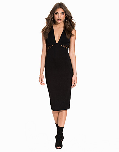 V Neck Midi Lace Panel Dress (2200991593)