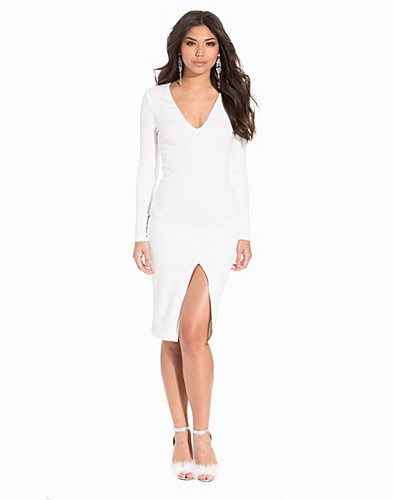 Scuba Plunge Neck Bodycon Dress (2189838117)