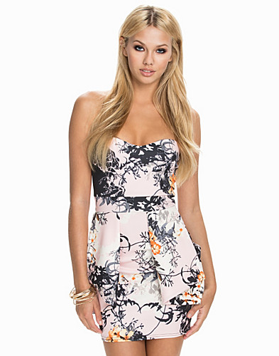 Printed Pleated Peplum Bandeau Dress (2020183377)