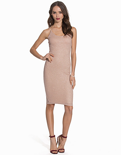 Shell Pink Metallic Knit Midi Dress (2087793359)