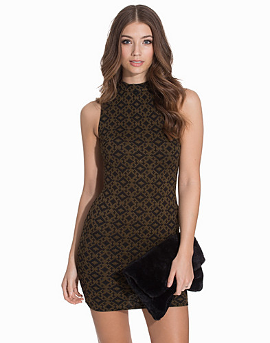 Folk Jacquard Funnel Neck Mini Dress (2088540109)