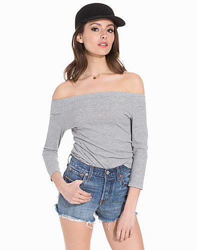 Ribbed Bardot Neck Top (2165882783)