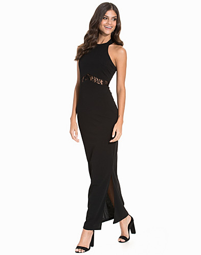 Lace Insert High Neck Maxi Dress (2178740505)