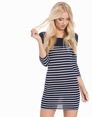 Stripe 34 Sleeve Bodycon Mini Dress (2289132667)