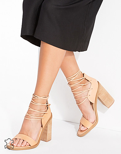 Leather Lace Up Block Heel Sandals (2232547591)