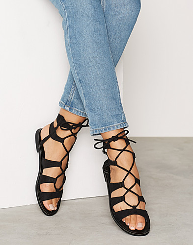 Black Suedette Ghillie Sandals (2226917441)