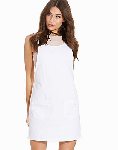 White Denim Double Pocket Pinafore Dress (2220708799)