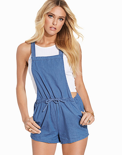Blue Denim Tie Waist Playsuit (2264259929)