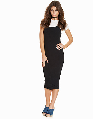 Black Ribbed 2 in 1 Midi T Shirt Dress (2220708813)