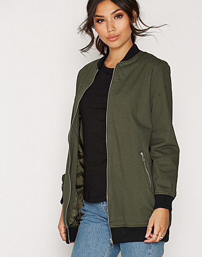 Cotton Twill Longline Bomber Jacket (2275467555)