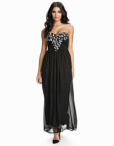 Deep V Embellished Bustier Maxi Dress (1783932707)