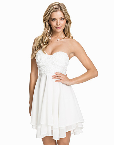 3D Rose Detailed Bandeau Dress (1912993769)