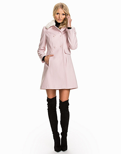 Faux Fur Collar Button Coat (2034661797)