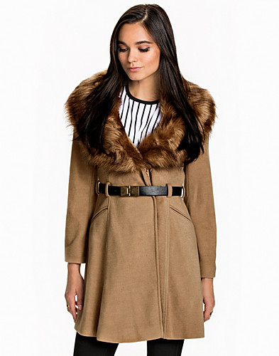 Faux Fur Collar Belted Coat (2019216749)