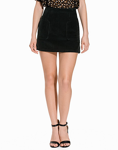 Patch Pocket Cord A Line Skirt (2149787577)