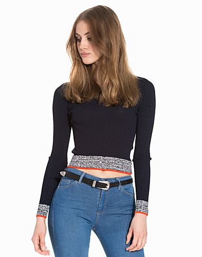Marl Trim Rib Crop Jumper (2163310389)