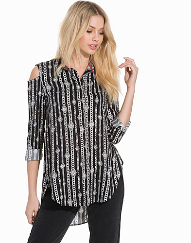 Chain Print Cold Shoulder Shirt (2286180375)