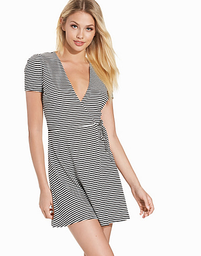 Stripe Wrap Skater Dress (2215365901)