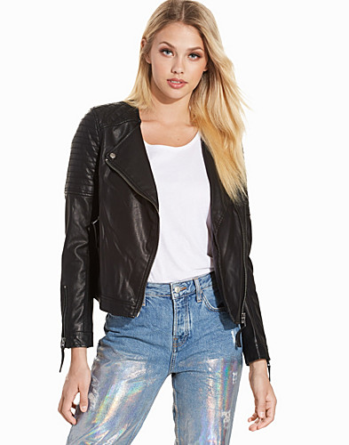 Quilted Faux Leather Biker Jacket (2215365913)