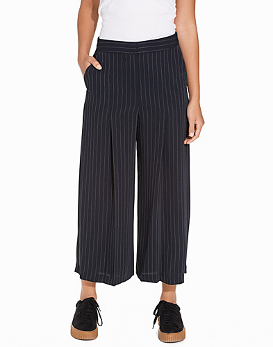 Pin Stripe Wide Leg Cropped Trousers (2263512505)