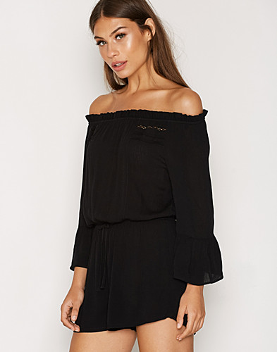Crinkle Trim Bardot Playsuit (2294415229)