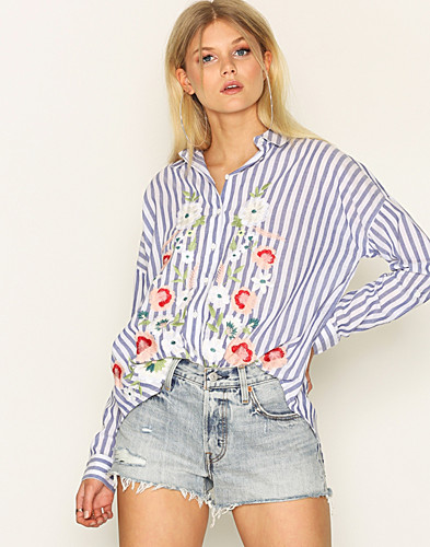 Miss Selfridge - Embroidered Stripe Split Shirt