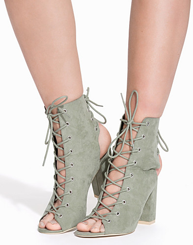 Laced Up Block Heel Boot