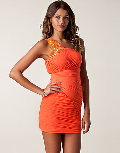 Mesh One Shoulder Trim Dress