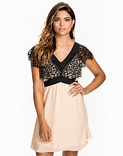 Contrast V Neck Lace Chiffon Dress (1752804959)