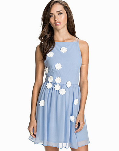 Flower Embellished Chiffon Dress (1877628631)