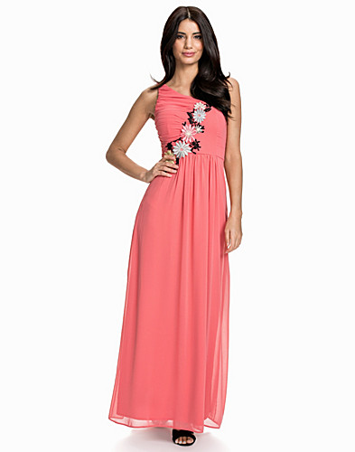 One Shoulder Flower Aplique Maxi Dress (1912993739)
