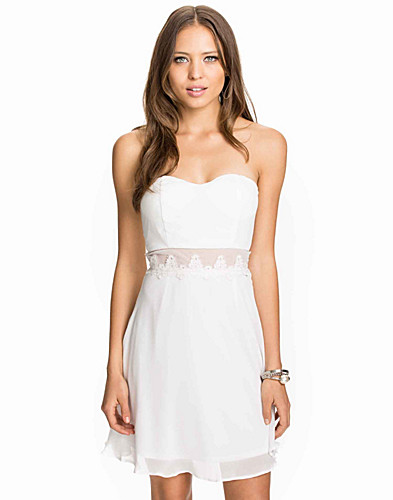 Bandeau Waist Lace Trim Skater Dress (1968804099)