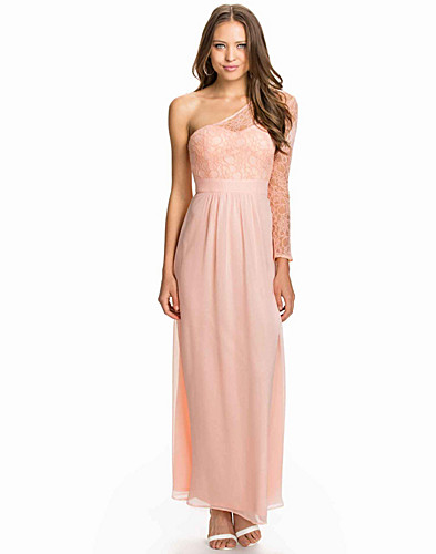 One Shoulder Lace Sleeve Chiffon Maxi Dress (1968804751)
